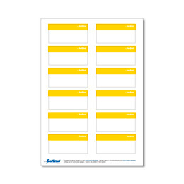 Adhesive labels, yellow, for BOXXes/cases/clips 12 in number. (1 sheet)