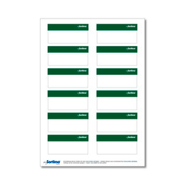 Adhesive labels, green, for BOXXes/cases/clips 12 in number. (1 sheet)