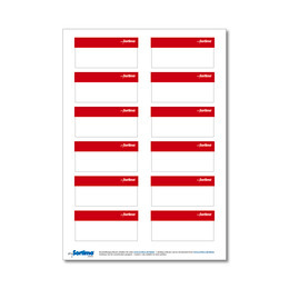 Adhesive labels, red, for BOXXes/cases/clips 12 in number. (1 sheet)
